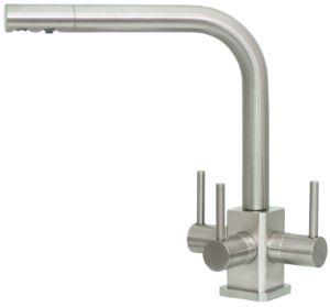 Acquapuro Sorrento SQ 3-Way 3 Lever Kitchen Filter Tap Brushed Steel