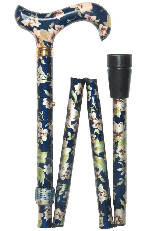 Elite Folding Walking Stick - Dark Blue Floral