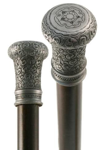 Antique Pewter Effect Tudor Rose Moulded Top Collectors Cane