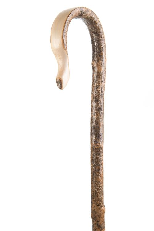Ash Shepherd's Crook - Natural Bark Finish with Polished Handle