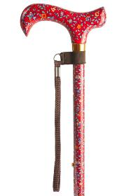 Adjustable Walking Stick with Patterned Derby Handle - Red Floral