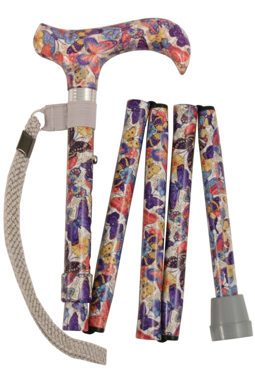 Folding Walking Stick - 5 Sections - Butterflies