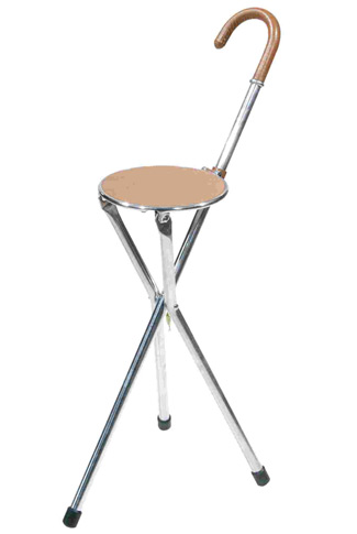 Tirion Tripod Seat Stick with Tan Leather Trim