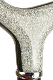 Silver Lamé Glitter Derby Dress Cane