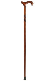 Gents Scorched Beech Derby Walking Stick with Spiral - Long
