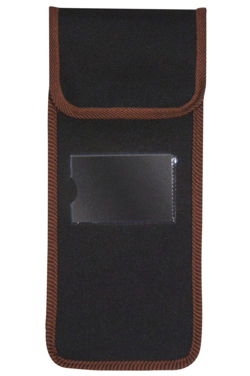 Black Pouch with Brown Trim for Folding Sticks