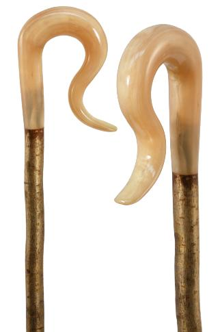 Rams Horn Leg Cleek on Hazel Shaft with Hand Carved Handle