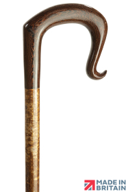 Handmade Panga Panga Wood Shepherd's Crook with Curl Nose on Hazel