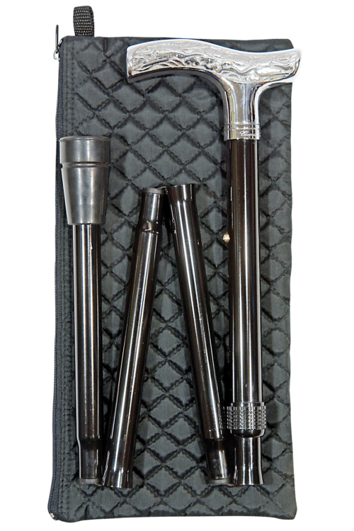 Patterned chrome folding cane with wallet, large