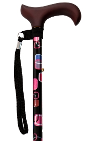 Adjustable Walking Stick with Derby Handle - Retro Squares