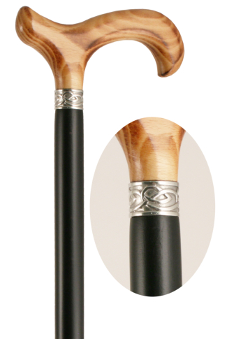 Celtic Derby Black Walking Cane with Natural Handle