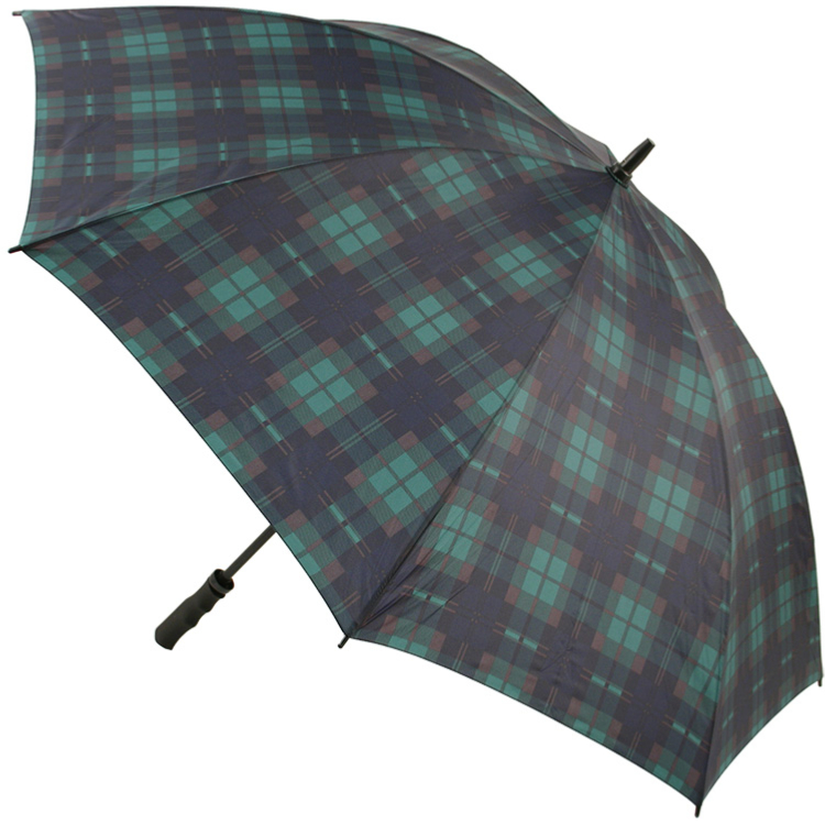 Tartan Golf Umbrella - Green & Navy (as Black Watch)