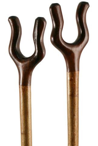 Hand Carved Rounded Rosewood Thumb Stick with Hazel Shaft