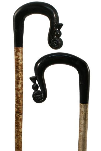 Hand Carved Buffalo Horn Shepherds Crook with Thistle on Hazel Shaft
