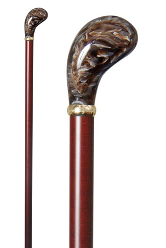 Coffee Brown Marbled Acrylic Pistol Grip Cane (85cm Length)