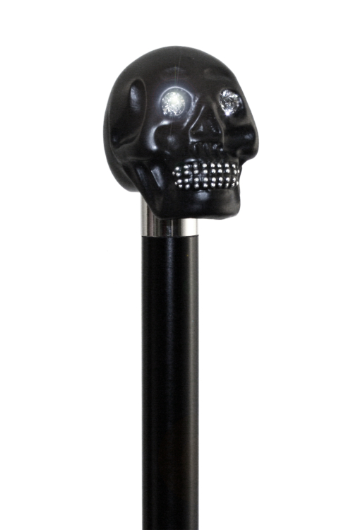 Black Skull Dress Cane with Swarovski Crystal Eyes