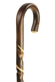 Chestnut Spiral Crook Handled Walking Stick