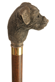 Bronze Effect Border Terrier Moulded Top Collectors Cane