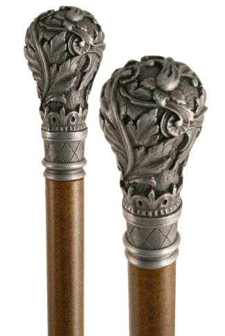 Antique Pewter Effect Fern Scroll Top Collectors Cane