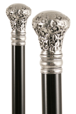 Silver Plated Pewter Moulded Top Walking Stick