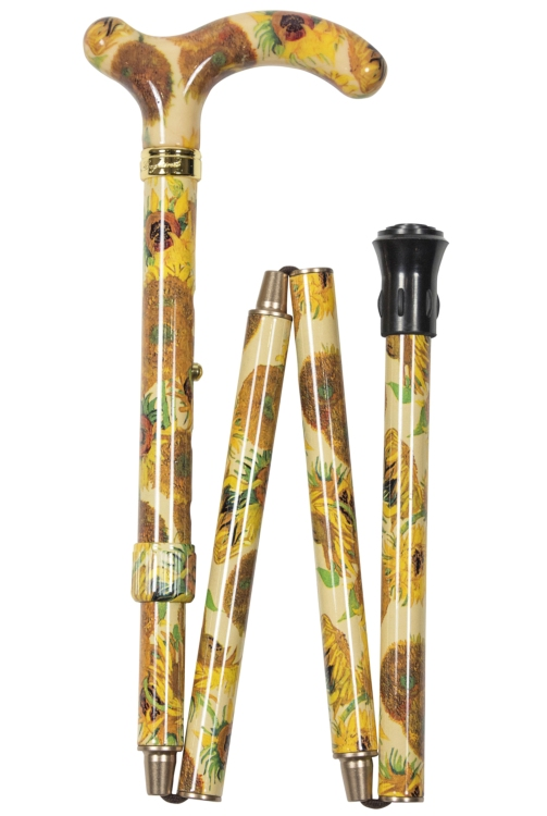 National Gallery Petite Adjustable Folding Cane - Van Gogh Sunflowers