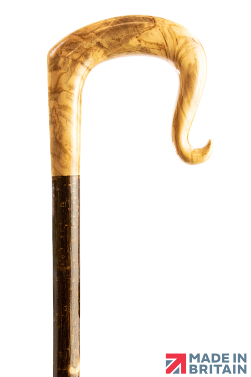 Handmade Olive Wood Shepherd's Crook with Curl Nose on a Hazel Shaft