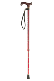 Adjustable Walking Stick with Derby Handle - Red Dotty
