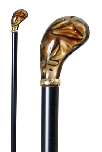 Tortoiseshell Marbled Acrylic Pistol Grip Walking Stick