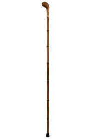 Shorter Wooden Handled Pistol Grip Walking Cane with Bamboo Shaft (85cm)