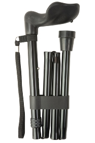 Anatomical Black Right Handed Folding Walking Stick