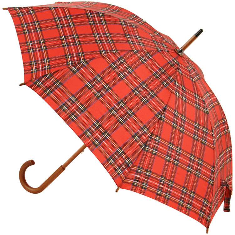 Tartan Walking Length Umbrella - Red (as Royal Stewart)