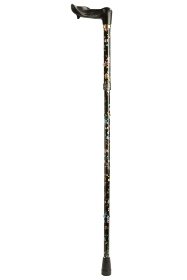 Anatomical Black Floral Folding Walking Cane - Right Handed