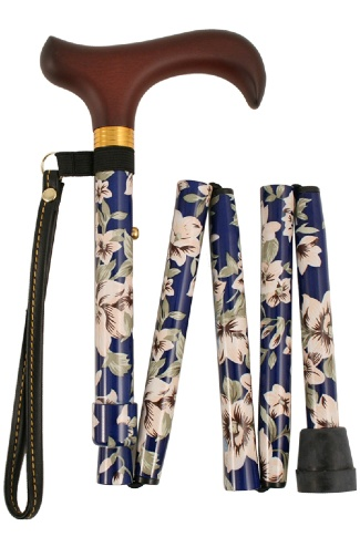 Shorter Folding Walking Stick - 5 Sections - Blue Morris