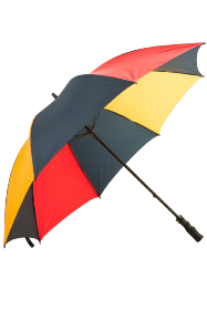 Colour Panelled Golf Umbrella - Black, Blue, Red & Yellow