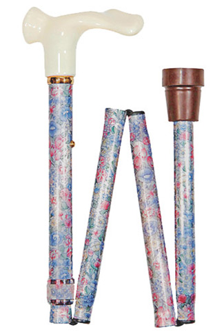 Anatomical Left Handed Muted Floral Folding Walking Cane
