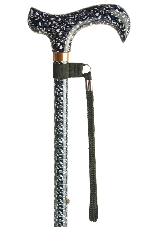 Adjustable Walking Stick with Patterned Derby Handle - Geometric