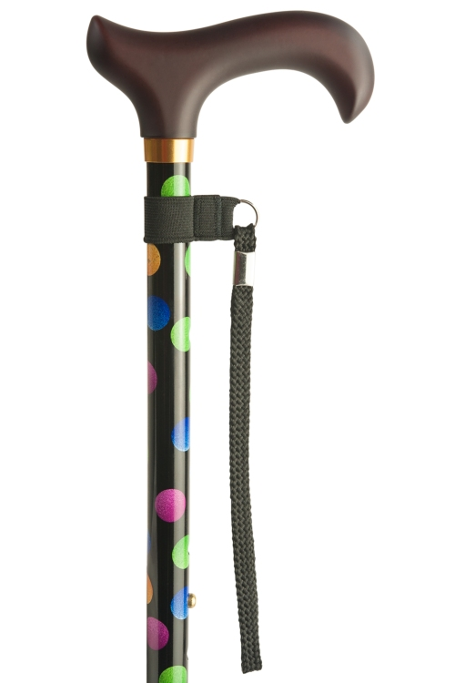 Adjustable Walking Stick with Derby Handle - Multi Dotty