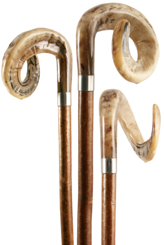 Hand Carved Ram's Horn Hazel Shepherd's Crook with Metal Collar