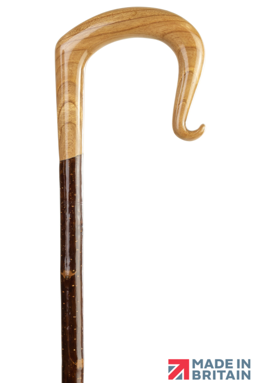 Handmade Oak Shepherd's Crook with Curl Nose on Spanish Chestnut Shaft