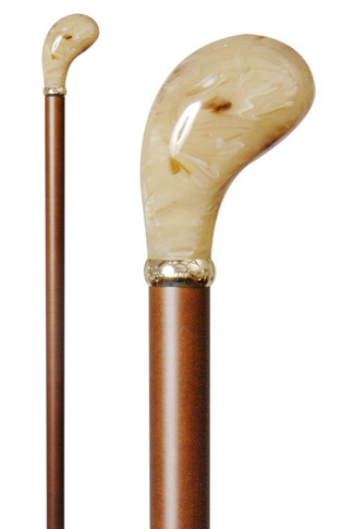 Cream Marbled Acrylic Pistol Grip Walking Stick