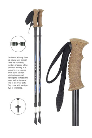 Pair Nordic Walking Poles - Cork Handles
