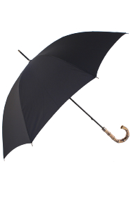 Gents Black Umbrella with Bamboo Handle