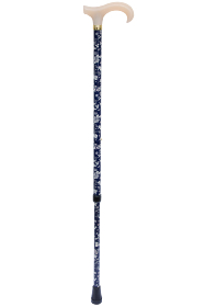 Petite Adjustable Derby Walking Stick - Navy & White Floral