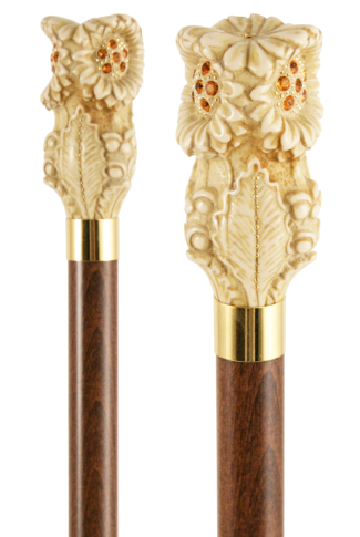 Ivory Effect Sunflower Handled Dress Cane with Amber Swarovski Crystals