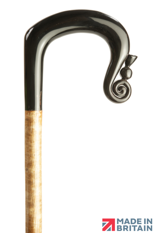Handmade Buffalo Horn Shepherd's Crook with Thistle Nose on Hazel