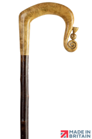 Handmade Maple Burr Shepherd's Crook with Thistle Nose on Chestnut Shaft