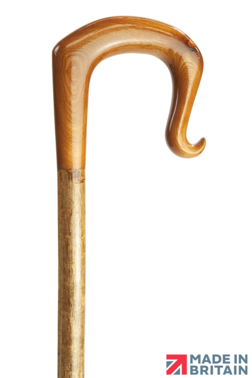 Handmade Elm Wood Shepherd's Crook with Curl Nose on Hazel