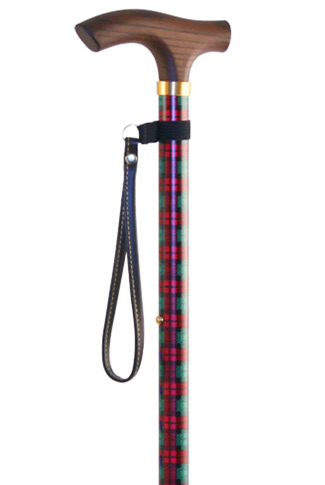 Red Tartan Adjustable Walking Stick