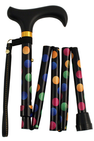 Shorter Folding Walking Stick - Spots