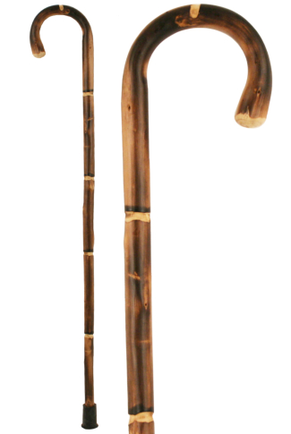 Chestnut Crook Handle Walking Stick with Bamboo Effect Shaft